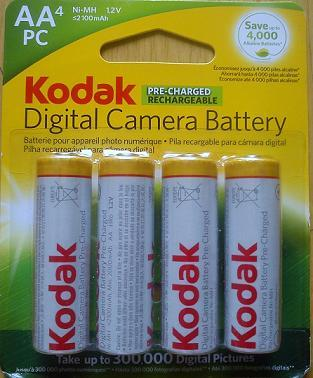 Kodak 2100 mAh AA Size Pre-Charged Battery 4 Pcs
