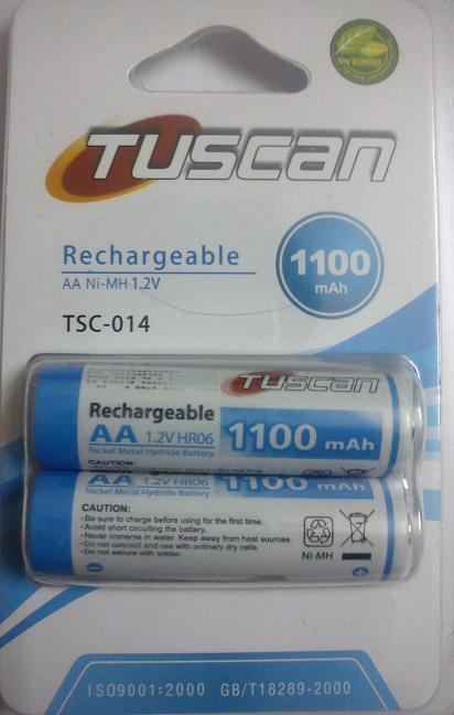 Tuscan 1100 mAh AA Size Battery 2 pcs