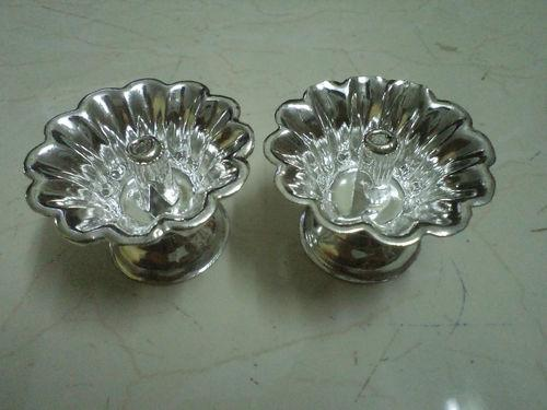 Pair of Fancy Diya In white metal In Small Size