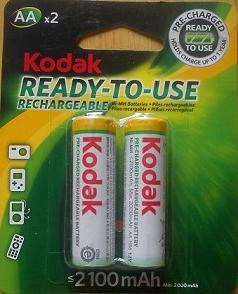 Kodak 2100 mAh 2 Pcs AA Size Pre-Charged Rechargeable Battery