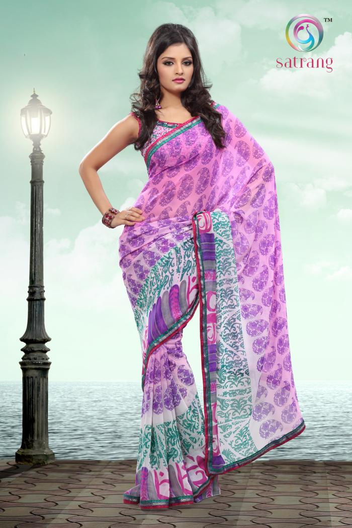 Satrang Weightless Georgette Multi Color Saree